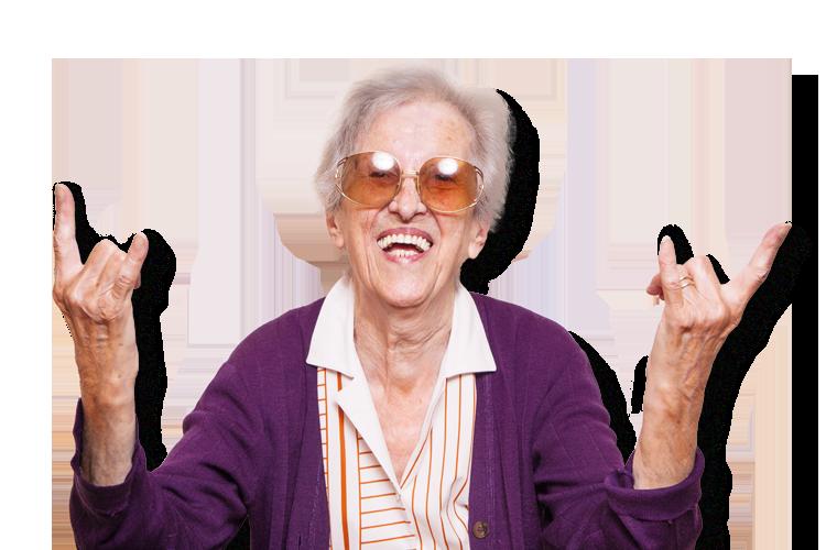 ältere Dame freut sich über schnelles Internet